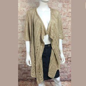 St. John Tan Waterfall Open Cardigan Medium Wool